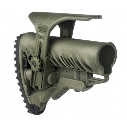 Амортизирующий приклад FAB-Defense для AR15/M16/АК с упором для щеки GL-Shock CP, без трубки (олива)