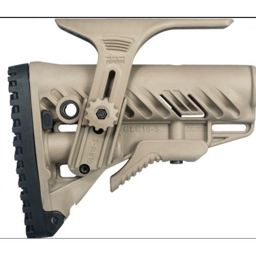 Амортизирующий приклад FAB-Defense для AR15/M16/АК с упором для щеки GL-Shock CP, без трубки (песок)